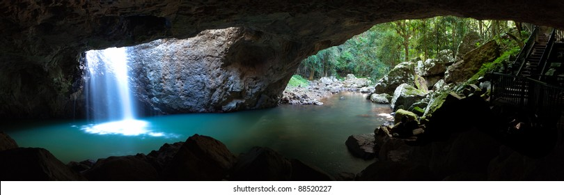 Panorama of the natural bridge in Springbrook National Park, New South Wales, Australia.