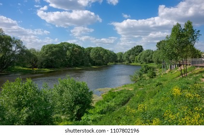 Panorama of the natural landscape. The bend of the Moscow-river  in the town of Zhukovsky near Moscow. Russia