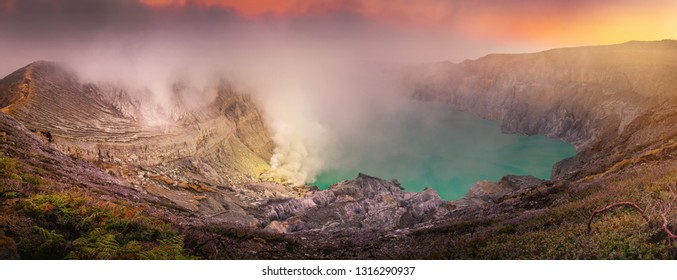 Panorama natural landscape of Kawah Ijen crater at sunrise scene., Panoramic scenery of volcano mount at Java, Indonesia., Travel destination and adventure trekking activity. Nature background
