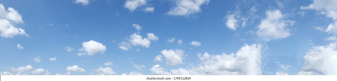 Panorama nature view white clouds on blue sky background