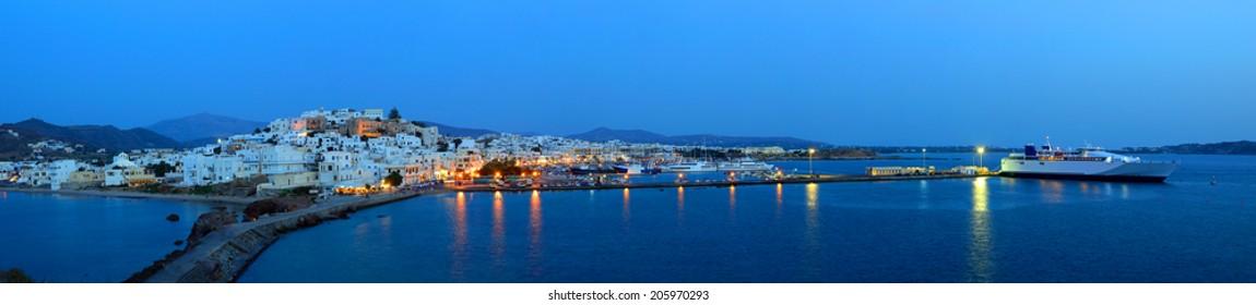 Panorama of Naxos Chora town at dusk, Naxos island, Cyclades archipelago, Greece