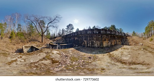 Panorama near fortress defensive structureof the First World War . Full spherical 360 by 180 degrees seamless panorama in equirectangular projection. Skybox for Virtual reality content