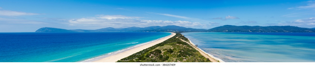 Panorama from the neck at Bruny Island on a sunny summer day with blue skies, Tasmania, Australia