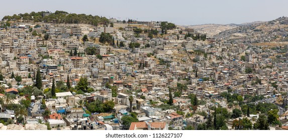 Panorama of the neighborhoods of East Jerusalem, Israel