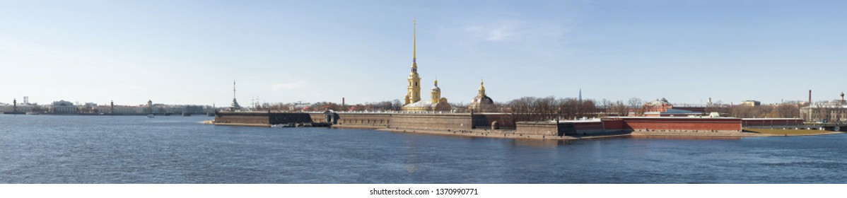 Panorama of the Neva river and the Peter and Paul Fortress on a sunny April day. Saint-Petersburg, Russia