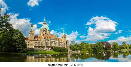 Panorama of New City Hall in Hannover in a beautiful summer day, Germany