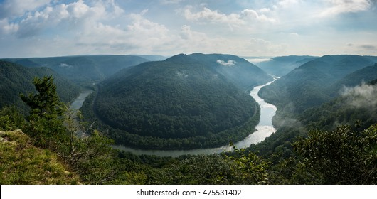 Panorama of New River at Grand View in New River Gorge National park in West Virginia