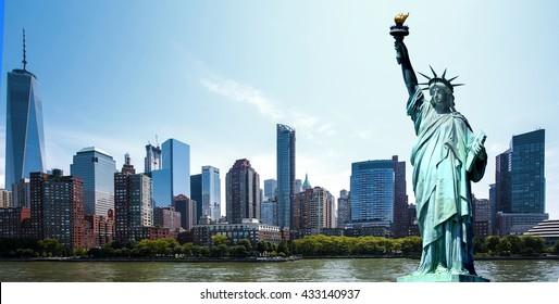 Panorama New York City - Manhattan - Statue of Liberty