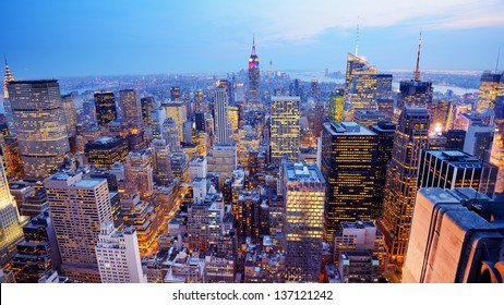 Panorama of New York City in Midtown Manhattan. Low color saturation.