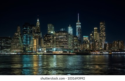 panorama of the New York skyline, at night, during the blue hour