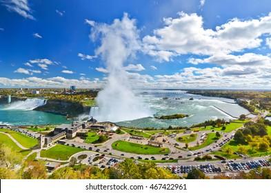 Panorama of Niagara Falls in a sunny day
