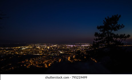 Panorama of night city, Košice in east Slovakia