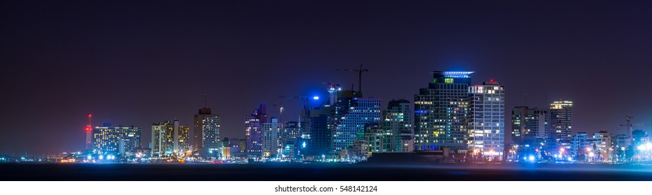 Panorama of night city, Tel-Aviv