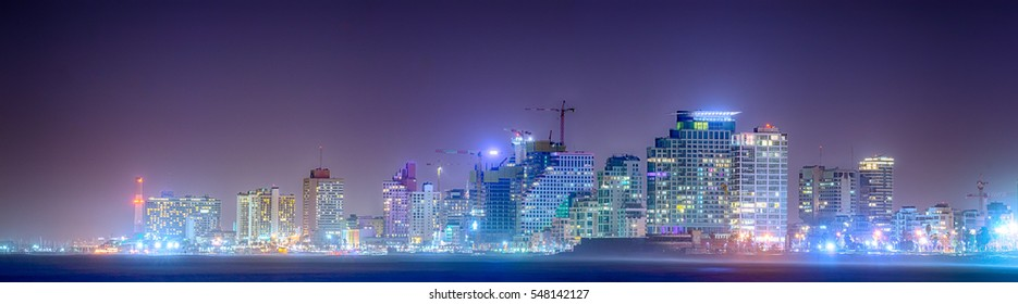 Panorama of night city, Tel-Aviv in HDR style.
