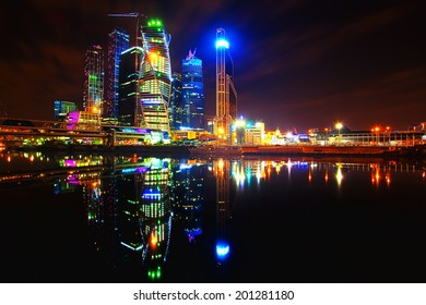"Panorama of night city (View of ""Moscow City"" - business center of Moscow, Russia)"