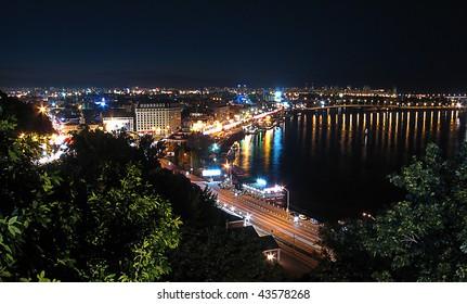 Panorama night Kiev center in Ukraine