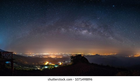 panorama night landscape mountain and milky way galaxy background , panoramic thailand  , long exposure , low light