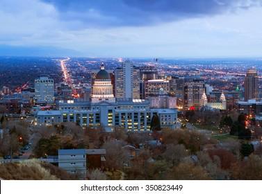 Panorama of the night in Salt Lake City in the winter before Christmas, Utah, USA