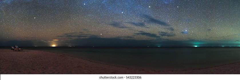 Panorama of night sky stars over the sea beach, Maldives Eriyadu Island, web banner