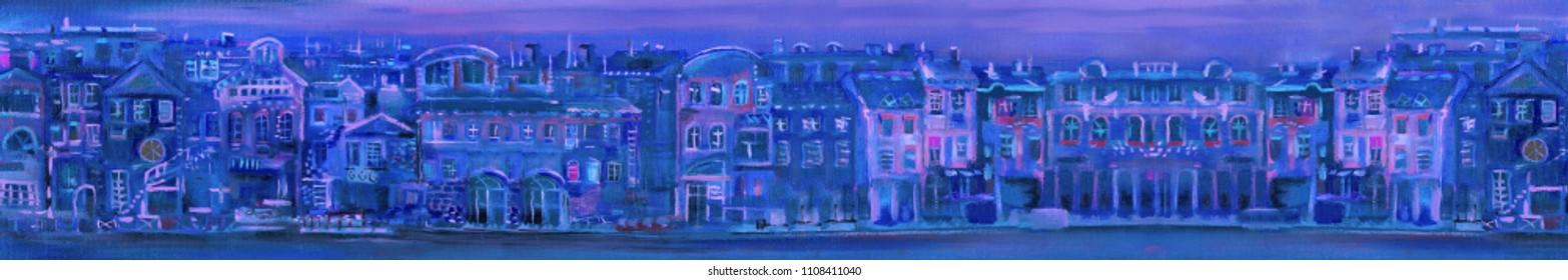 Panorama of night town, painting illustration
