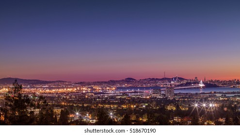 Panorama Night View of San Francisco Bay, East Bay, Oakland, Emeryville