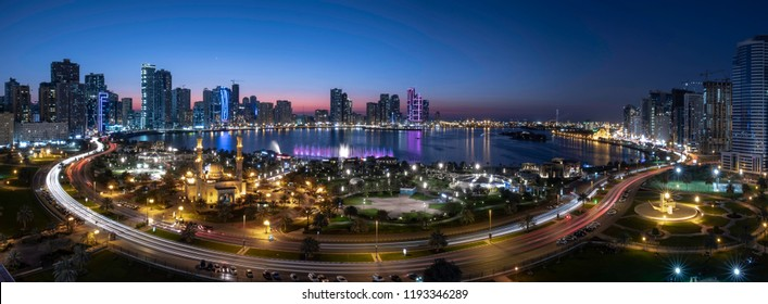 A panorama of   night  view - sharjah cityscape