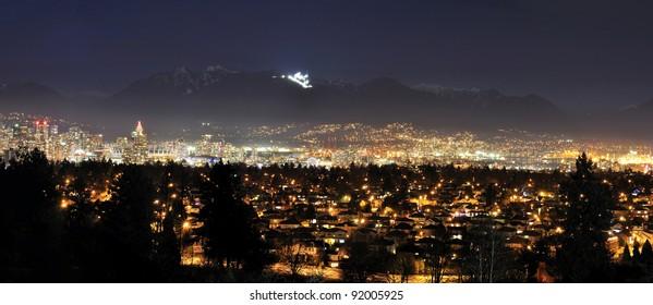 Panorama Night View of Vancouver