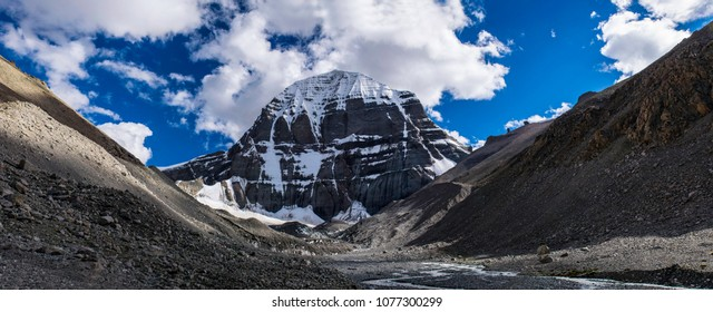 The panorama North Face wall of Kailash - the most mystical, mysterious and sacred mountain in Tibet. Sacred place for Buddha pupils making piligrimage in Asia. Place of prayer, calm and meditation.