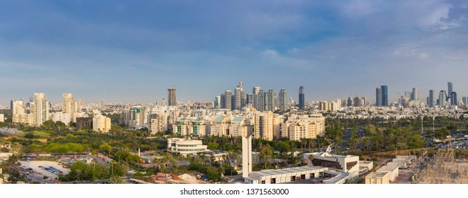 Panorama Of North Tel Aviv Skyline,  Tel Aviv Cityscape Large Panorama At Day, Israel