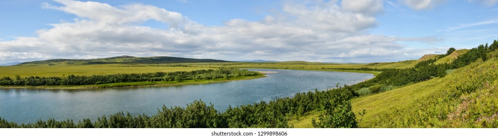 Panorama of the Northern river in the tundra. The Pike river on the Yamal Peninsula in a natural Park Polar Urals.