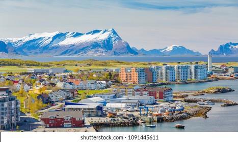 Panorama of Norwegian City Bodo, Norway.