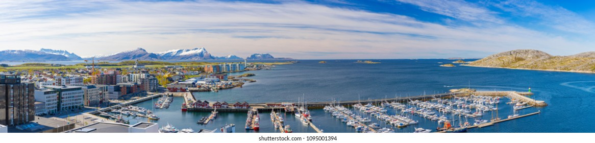 Panorama of Norwegian City Bodo, Norway, mountain in background