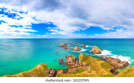 Panorama of Nugget point. Seascape