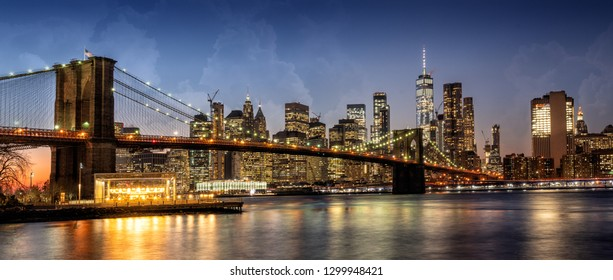 Panorama of NYC with Brooklyn Bridge from Dumbo, NYC, USA