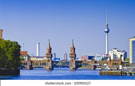 panorama with oberbaum bridge in berlin, germany
