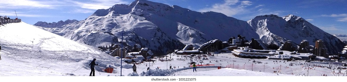 Panorama off ski down to the Portes du Soleil town of Avoriaz, France