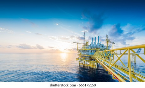 Panorama of Offshore oil and gas construction platform to received raw gas and treat then sent to onshore refinery and petrochemical, Power and energy business.
