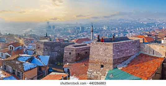 Panorama oh Hisar Castle Hill with the old stone towers, connected by the huge wall, Ankara, Turkey.