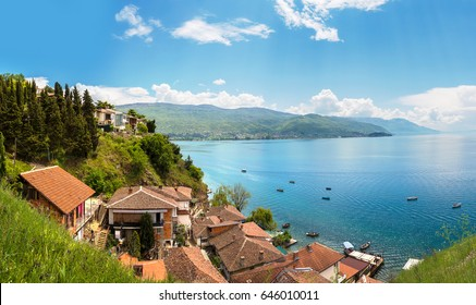 Panorama of Ohrid city and lake Ohrid in a beautiful summer day, Republic of Macedonia