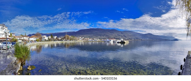 Panorama of Ohrid Lake in Macedonia