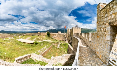 Panorama of Ohrid - Macedonia. View from watchtower of famous old fortress ruins of tzar Samuel in Ohrid know as Samuels fortress with Lake Ohrid in the background. Ohrid - Macedonia