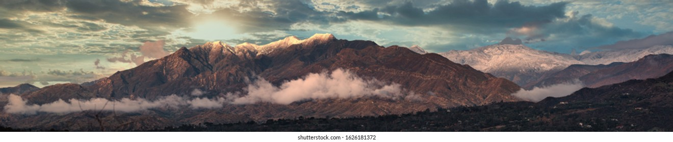Panorama of Ojai Valley and surrounding mountains and farmlands