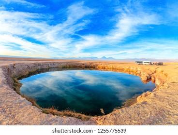 Panorama Ojos del Salar Lagoon, Salar de Atacama, San Pedro de A
