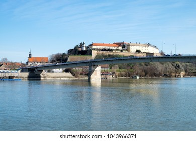 Panorama of the old Austo-Hungarian Petrovaradin fortress, the Varadin bridge (Duga) and the Danube river in Novi Sad, Serbia