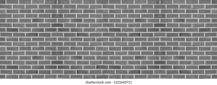 Panorama old brick wall pattern texture, masonry background, gray tone, black and white