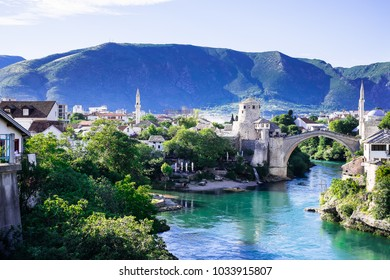 Panorama of The Old Bridge in Mostar in a beautiful summer day, Bosnia and Herzegovina. Image with copy space.