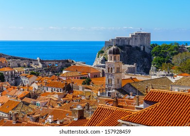 Panorama of the Old City of Dubrovnik (Croatia), a city on the Adriatic Sea,  It is one of the most prominent tourist destinations in the Mediterranean