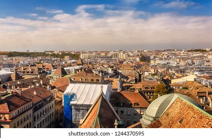 Panorama of the old city of Geneva with the Cathedral of St. Peter. Geneva. Switzerland.