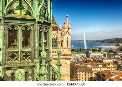 Panorama of the Old City of Geneva with Lake Geneva and the fountain Jet D'eau. Geneva. Switzerland.