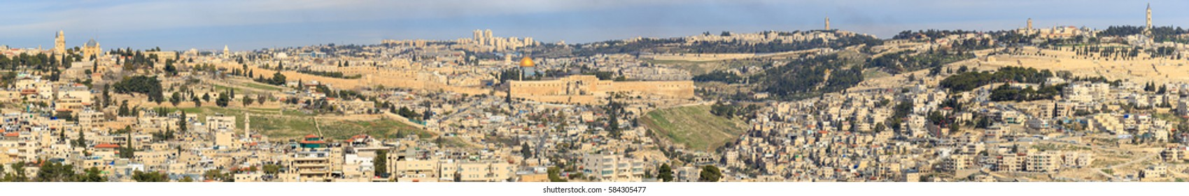 Panorama of old city Jerusalem, Israel from southern side